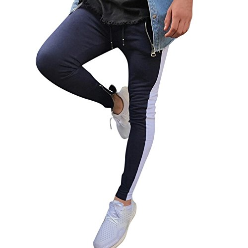 OWMEOT Men Sweatpants Men Slacks Elastic Sport Baggy Pockets Trousers Pant Casual Sweatpant Jogger Pants (Blue, XL)