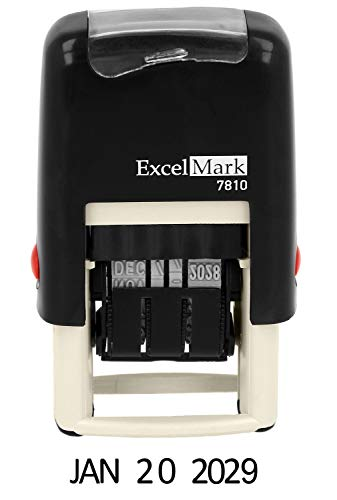 ExcelMark 7810 Self-Inking Rubber Date Stamp - Great for Shipping, Receiving, Expiration and Due Dates (Black Ink) ()