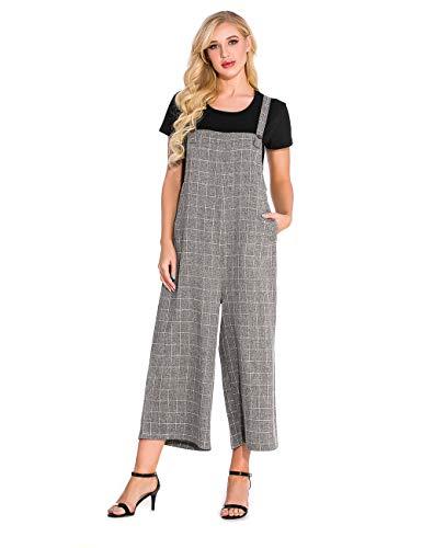 TEARMER Fashion Womens Onepiece Casual Cotton Long Loose Suspender Solid Color Jumpsuits Overall (2XL, Grey-B) from TEARMER