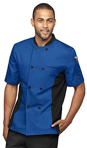 Mens Short Sleeve Chef Coat Mesh Side Panels (X-Large, Royal/Black)