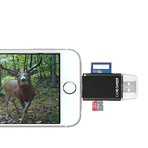 Trail/Game/SLR Camera Viewer for iPhone/iPad, Lightning to Camera SD Memory Card Reader, transfer photos from camera to iPhone/iPad connection kit, External memory storage expansion stick for iPhone