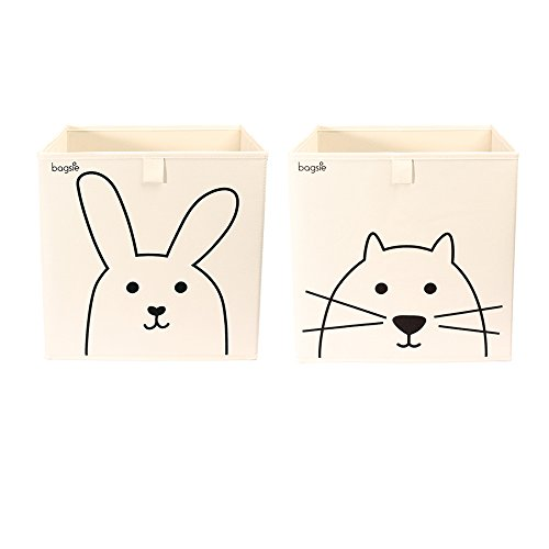 Storage Bins Bundle Cube Box Basket 13 inch Toy Organizer (1 Rabbit, 1 Cat) by bagsie