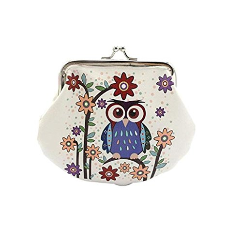 (Noopvan Wallet, Deal Vintage Women Small Coin Pockets Hasp Owl Purse Clutch Wallet Bags Chain Wallet Slim Wallet Best Wallet (White #3))