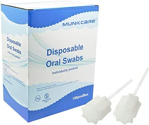 MUNKCARE Oral Mouth Swabs Sponge- Untreated and Unflavored for Baby & Elderly Oral Cleaning White 150 Counts