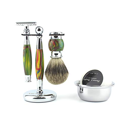 VICYUNS Luxury Grooming Shaving Set for Men Including Double-sided Razor, Allergy Shaving Soap, Stainless Steel Mirror Bowl, Hair Shaving Brush,10 Replacement Blades (Colorful)