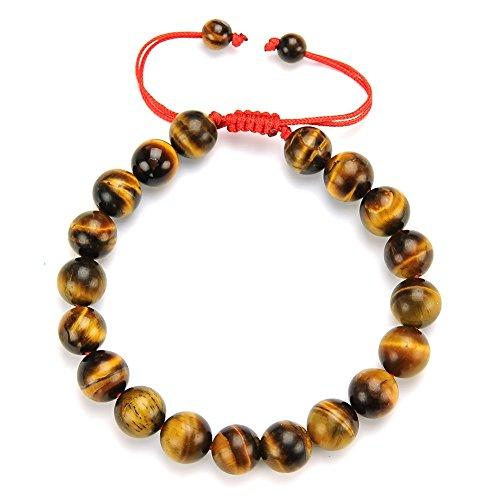 Cat Eye Jewels 10mm Natural Tiger Eye Bracelet Lucky Prayer Mala Buddha (Addiational Gift Red String Bracelet) YD-H002