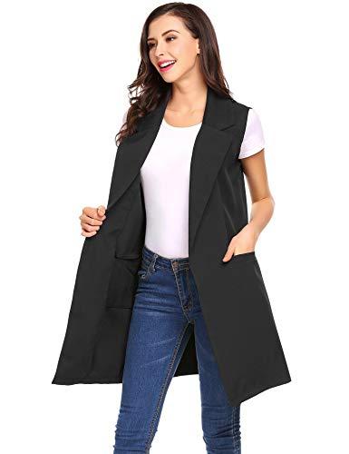 Gilet Blazer Black Women's Jacket Vest Duster Lapel Open Sleeveless Pocket Long Meaneor 4IaqxzO4