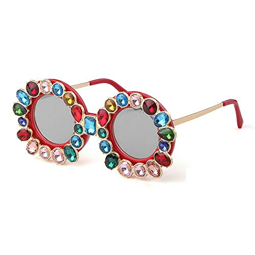 MINCL/Fashion Women Brand Designer Bling Rhinestone Round Sunglasses Vintage shades Female Large Diamond Color Shade (red&silver) ()
