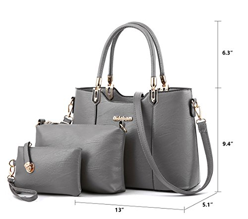 Bag 3 Pu Grey Purse Large Set Capacity Tote Bag Shoulder Crossbody Leather Women's Weave Pieces XMLZG Handbag 3 1R8q5aw