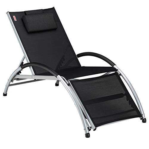 (KingCamp Sun Lounger Textilene Adjustable Patio Chaise Recliner Lounge Sunbathing Chair with Pillow (Black))
