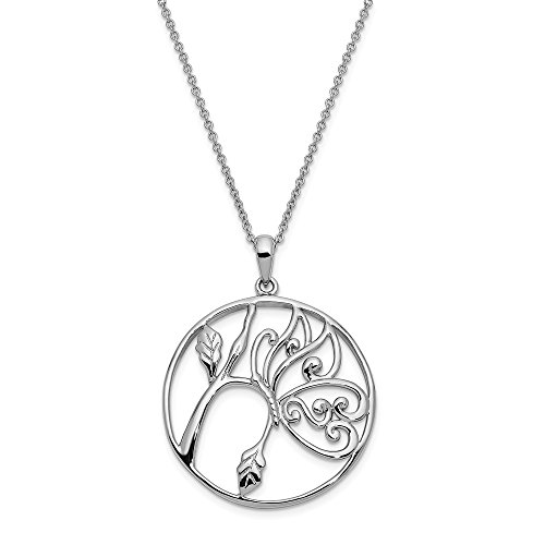 925 Sterling Silver Never Ever Give Up 18 Inch Chain Necklace Pendant Charm Floral Animals/insect Inspirational Fine Jewelry Gifts For Women For Her ()