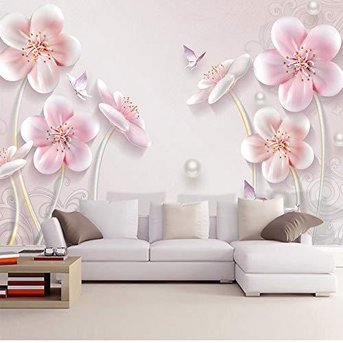 YJFBH Custom Photo Wallpaper 3D Embossed Plum Modern Minimalist European Style Living Room Sofa Tv Background Wall Art Mural Wallpaper