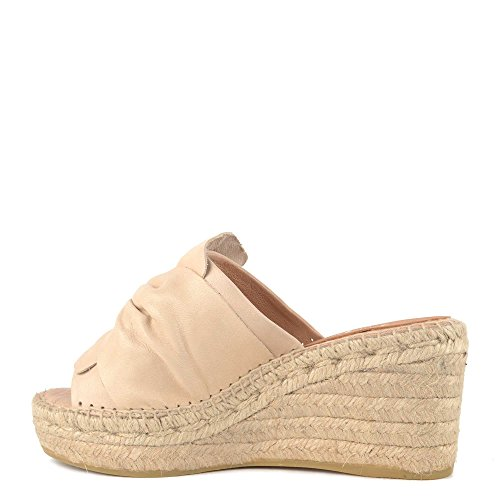 Kanna Schuhe Capri Keil Sandalen Espadrilles Aus Leder Beige Damen Beige