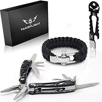 Multi Tool Survival Gear Kit – Birthday Gifts Cool Gadgets for Men | Tactical Gear EDC Gift Set w/Paracord Bracelet + Multitool + Keychain Bottle Opener, Christmas Stocking Stuffer, Father's Day Gift from TakeFlight (TM)