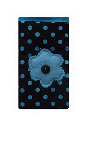 Dark Blue fleur Dotty iPhone 4 / 4 sÊSock / pochette / Case