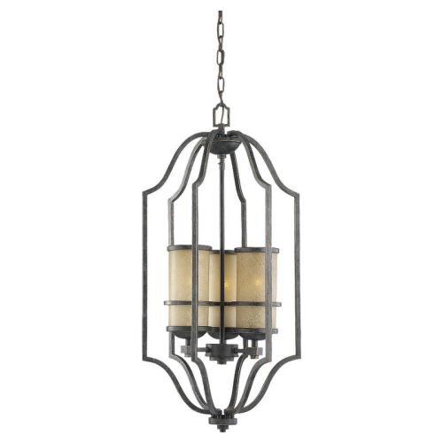 Sea Gull 51521-845 15-3/4-Inch Lighting W Roslyn Flemish Pendant Light with Tinted Shade, Bronze, 1-Pack - Light Flemish Bronze Chandelier