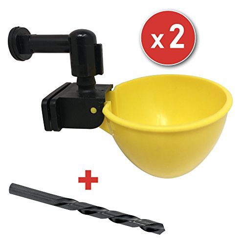 RentACoop Automatic Chicken Water Cup Waterer Kit for Poultry (Pack of 2) Goose Watering Can