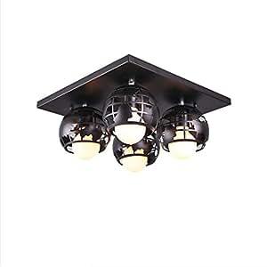 Nordic Children's Room Ceiling Lamp 4 Lights Cartoon Ceiling Lights, L40CM W40CM H17CM, E27 4 ( Color : Black )