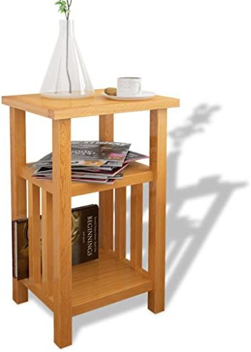 Daonanba Style C Sturdy Practical End Table Beautiful Side Table with Magazine Shelf Solid Oak 10.6 x13.8 x21.7