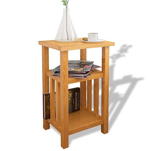 Daonanba Style C Sturdy Practical End Table Beautiful Side Table with Magazine Shelf Solid Oak 10.6