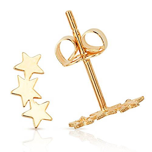 Solid Three Sparkling Star Stud Earring in 14K Yellow (14k Star Earrings)