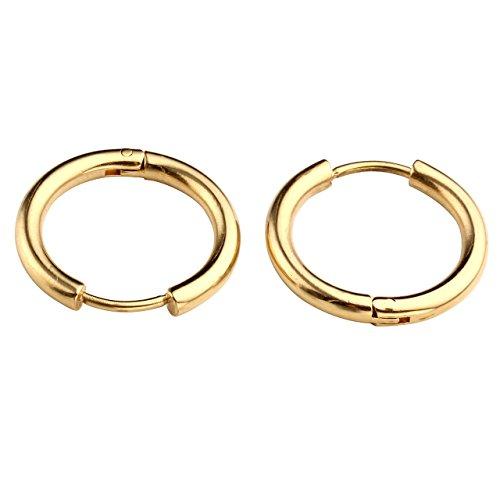 JSDDE Or Anneaux Unisexes Boucles d'oreills en Acier Inoxydable - Simple Classique Style - Diamètre d'Anneau 14mm