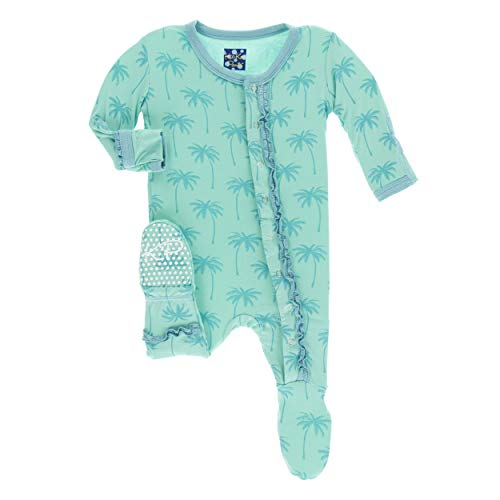 Kickee Pants Little Girls Print Muffin Ruffle Footie with Snaps - Glass Palm Trees, 3-6 Months