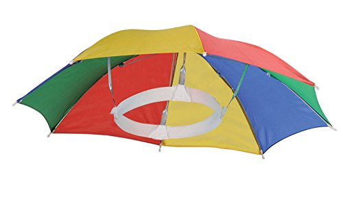 4 Pack Umbrella Hat Cap Multicolor Hands Free with Head Strap for Sun & Rain (Adult Hats)