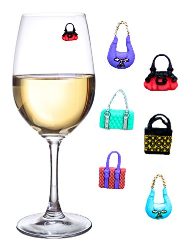 Girls Night Out Wine Charms or Glass Markers for Stemless Glasses, Martinis, Champagne Flutes and More - Set of 6 Colorful Purses - Hostess Housewarming Bridesmaid Gifts]()