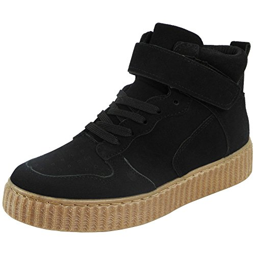 Womens Flat Lace Up Velcro Ladies Creepers Pumps Shoes Trainers Ankle Boots Size 3-8 Black sA2qPQ2