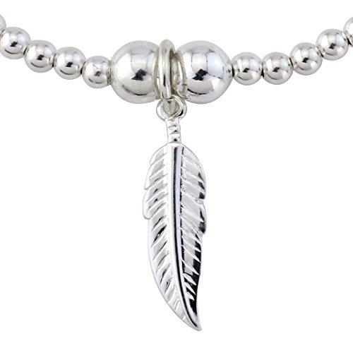 Trink Brand Angel Feather Sterling Silver Beaded Charm Bracelet
