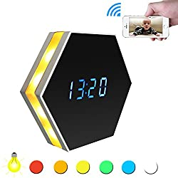 Wireless Security WiFi Mini Camera Clock - Camakt HD 1080P P2P Video Camcorder Nanny Small Camera,Night Vision and Motion Detection,2 Way Talk,180 Degrees,Support IOS/Android/PC