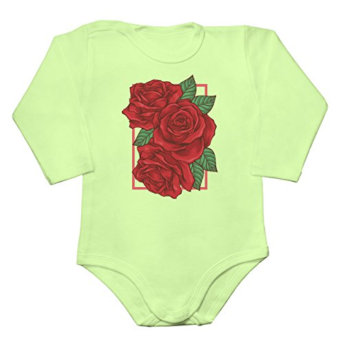 Three Roses Bouquet In A Rectangle Frame Baby Long Sleeve Romper Bodysuit XX-Large