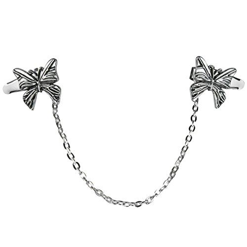 Evelots Butterfly Sweater Collar Clip-Silver Tone Chain-Shawl-Blouse-Dress-Vest (Silver Filigree Butterfly Pin)