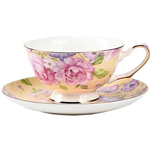 ufengke European Bone China Coffee Cup, Afternoon Tea Coffee Cup With Saucer, Ceramic Tea Sets For Gift, Hand-Painted Flower, Yellow