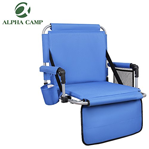 - ALPHA CAMP Stadium Seat Padded Chair for Bleachers with Back& Arm Rest, Blue