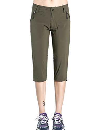 Lightweight Capri Travel Pants (Hopgo Women's Quick Dry Outdoor Capri Pants Lightweight Cargo Pants Crop Hiking Pants M Green)