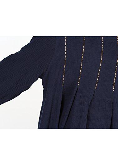 MatchLife–Vestido de cuello redondo Casual azul marino