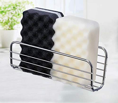 Adhesive Sponge Holder Sink Caddy for Kitchen Accessories - SUS304 Stainless Steel Rust Proof Water Proof, Quick Drying