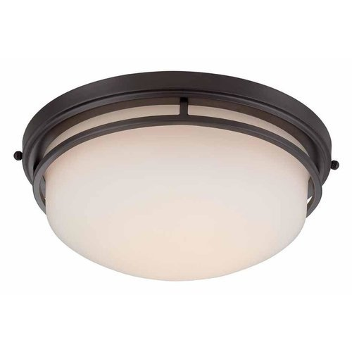 World Imports 9711-88 Oil Rubbed Bronze LED Flush Mount with Frosted Glass ()