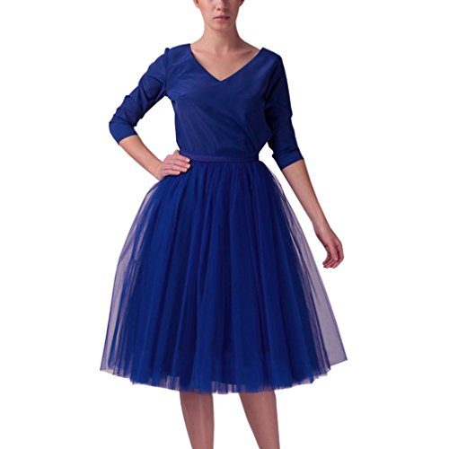 Wedding Planning Women's A Line Short Knee Length Tutu Tulle Prom Party Skirt X-Large Royal Blue (Blue Tulle Dress Womens)