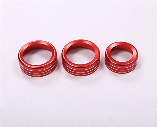 CROTRIM Inner Air Condition Knob Trim Cover 3pcs Red Colour For Alfa Romeo Giulia 2017