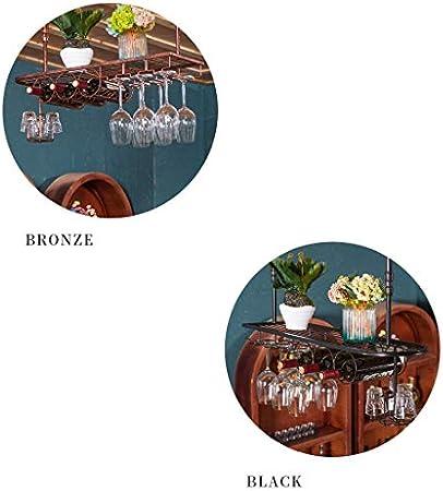 Sostenedor de vino Industrial montado en la pared Loft forjado Estante de botella de vino de metal Contenedor colgante Soporte de copa Decoración Copa de whisky / Estante de copa de vino para res