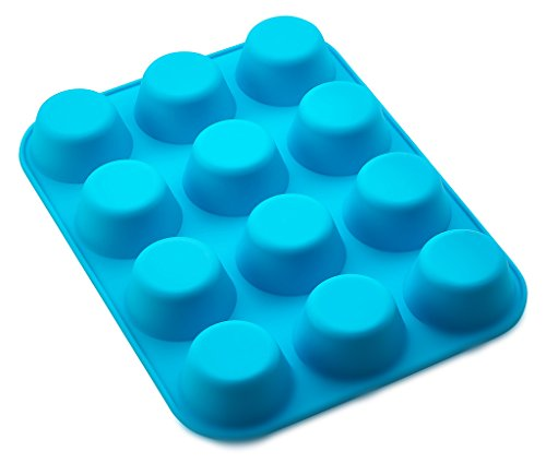 Kitch N' Wares Small Silicone Mini Muffin Pans - Pack of 2 Non-Stick Bakeware for Muffins, Cakes and Cupcakes - 12 Cups Silicone Mold Baking Tray - Heat Resistant up to 450 Degrees Fahrenheit - Blue ()