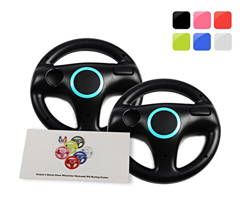 Wii Racing Game Steering Wheel (GH 2Pcs Wii(U) \ Wii Wheel for Mario Kart 8 and Other Nintendo Remote Steering Games , Wii Steering Wheel - Bomb Black (6 Colors Available))