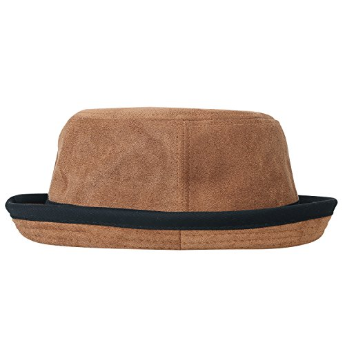 ililily Soft Suede Crushable Black hatband Upturn Porkpie Bucket Hat, Light Brown, Medium