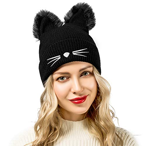 Women Hats Cute Cat Ear Warm Knit Beanie Cap with Embroidered Slouchy (Black) (Animal Hats For Women)