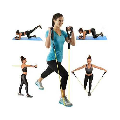 FanBell 11 Pack Exercise Resistance Bands with Handles Set – Include 5 Stackable Exercise Bands with Handles, Carry Bag, Legs Ankle Straps & Door Anchor Attachment Exercise Stretch Fitness Home Set