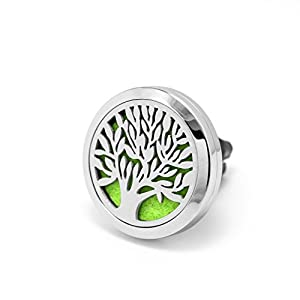 Premium Car Air Freshener Essential Oils Diffuser Sleek Stainless Steel Design, Relaxing Natural Auto Air Vent Aromatherapy, Improve Air Quality, Stay Alert & Combat Motion Sickness
