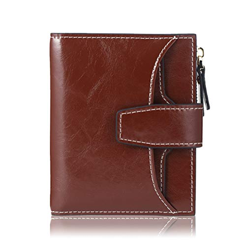 FT FUNTOR RFID Leather Wallet for women,Ladies Small Compact Bifold Pocket Wallet with id Window Brown